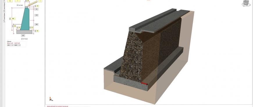 istCAD v.7.0 Taş Duvar İstinat Duvarı